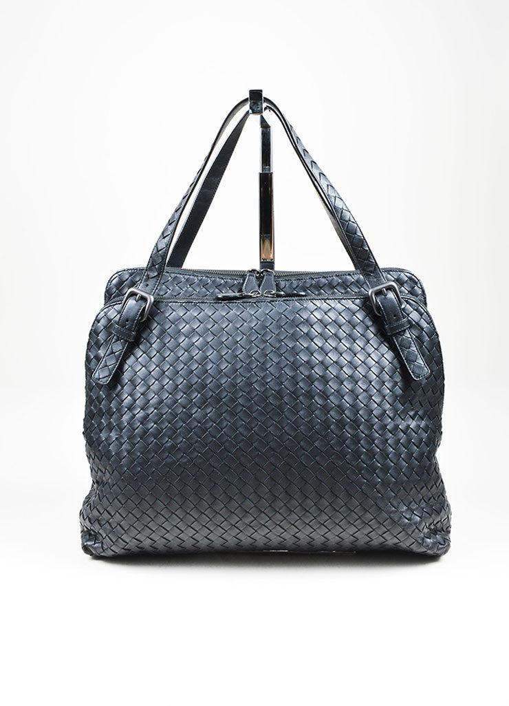 Navy Bottega Veneta Intrecciato Leather Double Compartment Shoulder Bag Frontview