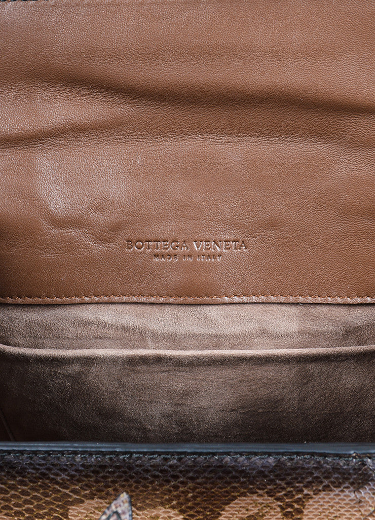Bottega Veneta  Brown Water Snake Leather Structured Handbag Brand