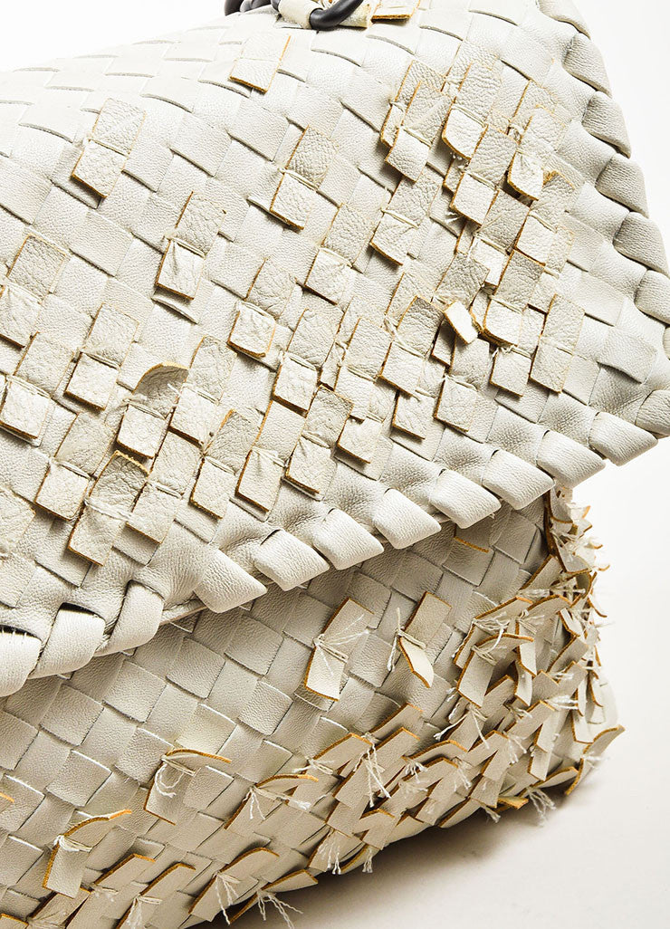 "Bottega Veneta White Woven Leather Fringed ""Olimpia Tobu"" Shoulder Bag Detail 3"