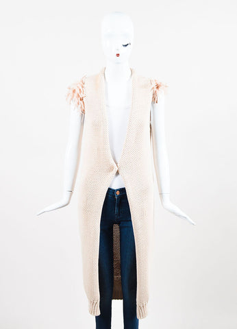 Brunello Cucinelli Nude Cotton Knit Woven Ruffle Sleeve Long Cardigan Vest Frontview 2
