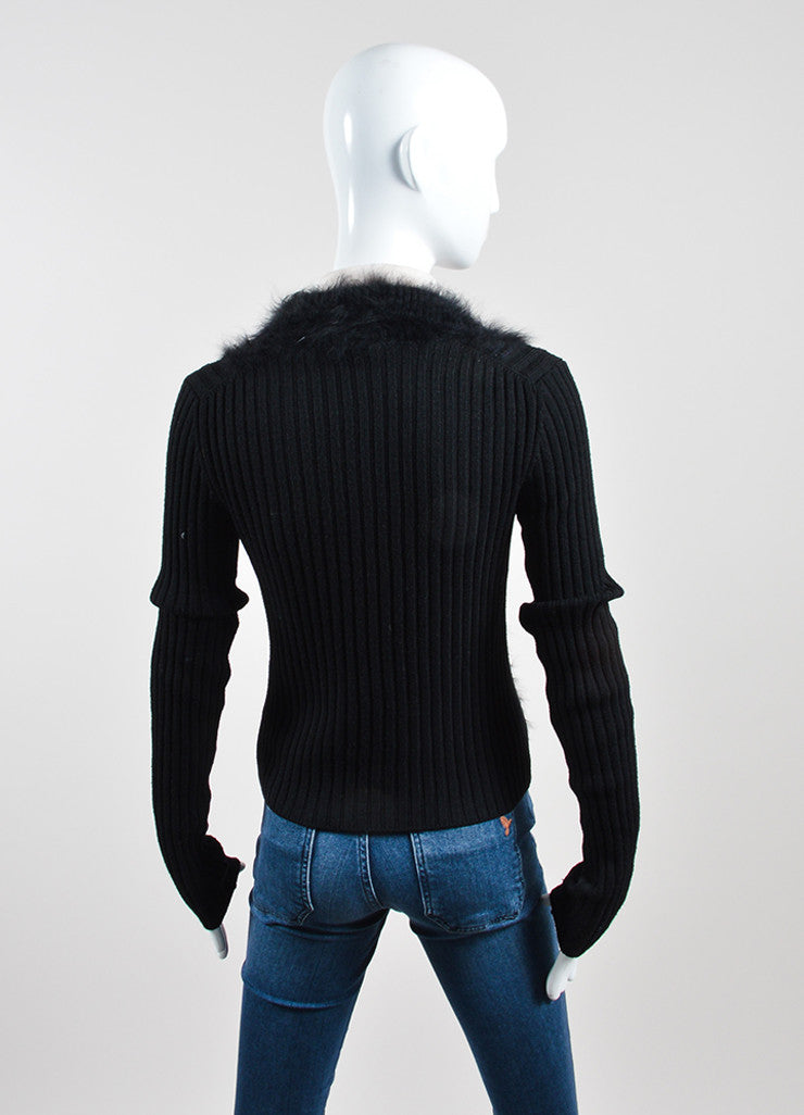 Black and Cream Chanel Wool, Silk, and Angora Long Sleeve Ribbed Furry Sweater Backview
