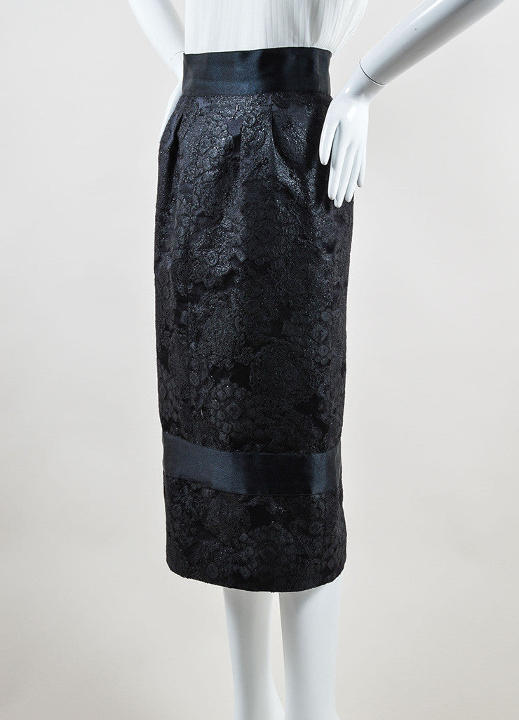 Chanel Black Wool and Silk Trim Embroidered Long Pencil Skirt Sideview