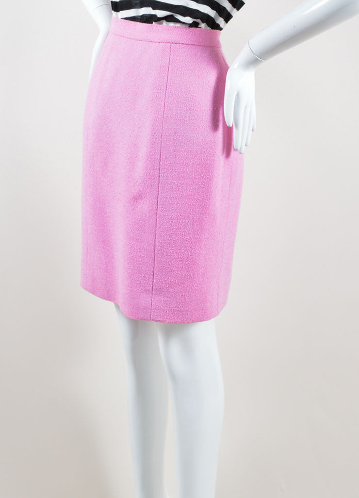 "Chanel Pink Wool Knit ""CC"" Button Pencil Skirt Sideview"
