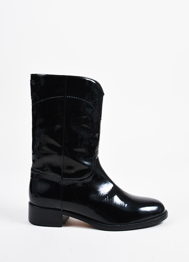 Black Patent Leather Chanel 'CC' Stitched Mid Calf Western Boots Sideview