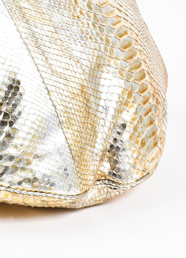 "Gold Chanel Metallic Python ""Rock and Chain"" Hobo Bag Detail"