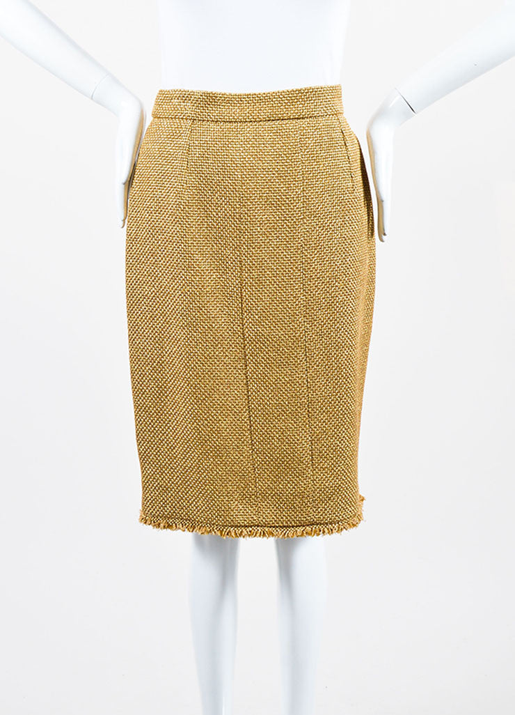 Metallic Gold Chanel Tweed Fringe Pencil Skirt Frontview