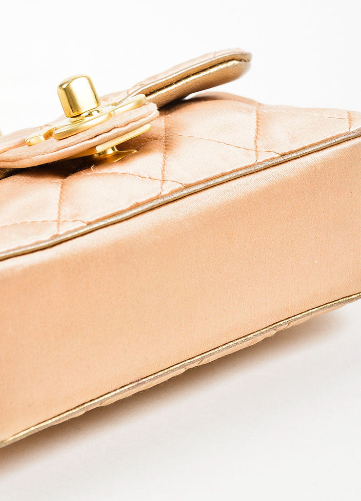 Pink, Pewter, and Gold Toned Chanel Satin and Leather Mini Classic Quilted Flap Evening Bag Bottom View