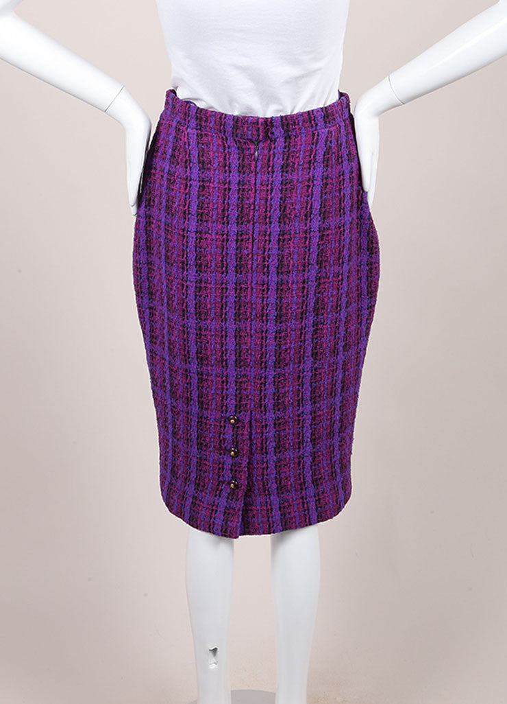 Chanel Purple, Black, and Multicolor Wool Tweed Woven Plaid Pencil Skirt Backview