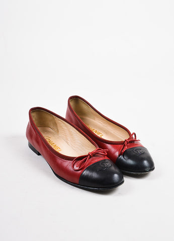 Chanel Red and Black Leather 'CC' Logo Cap Toe Bow Ballet Flats Frontview