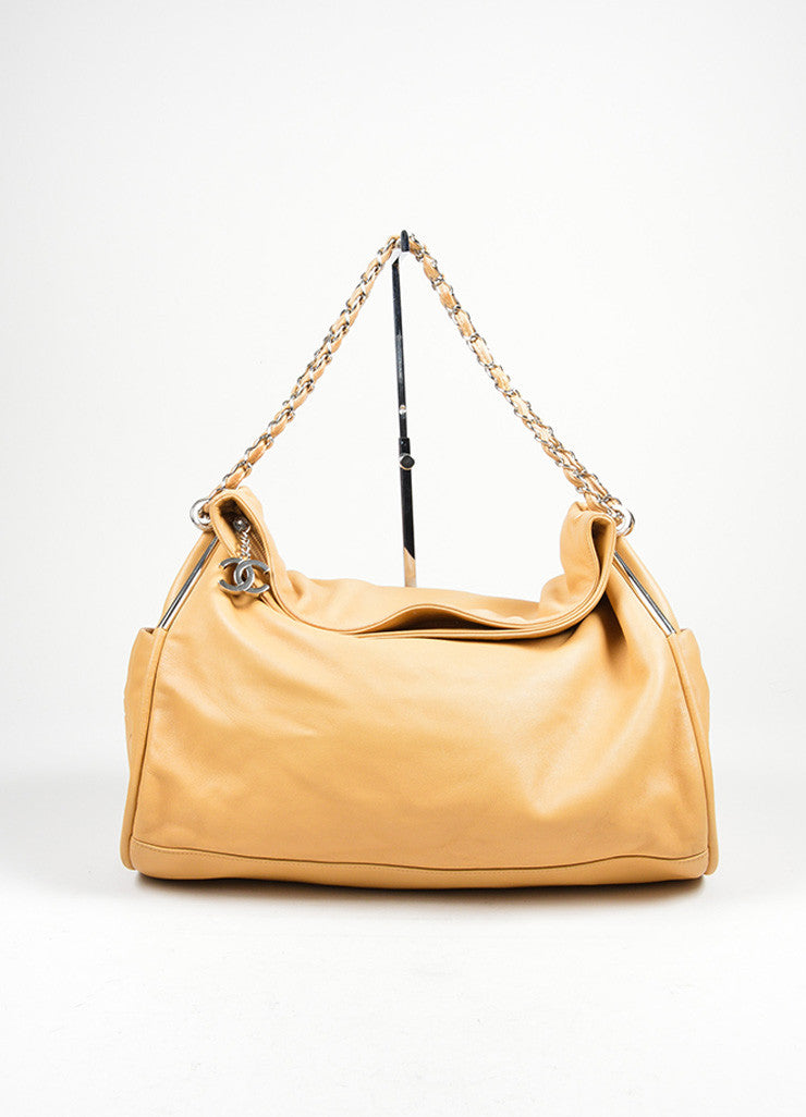 "Tan Leather Chanel 'CC' Logo Chain Strap ""Ultimate Soft"" Hobo Bag Frontview"