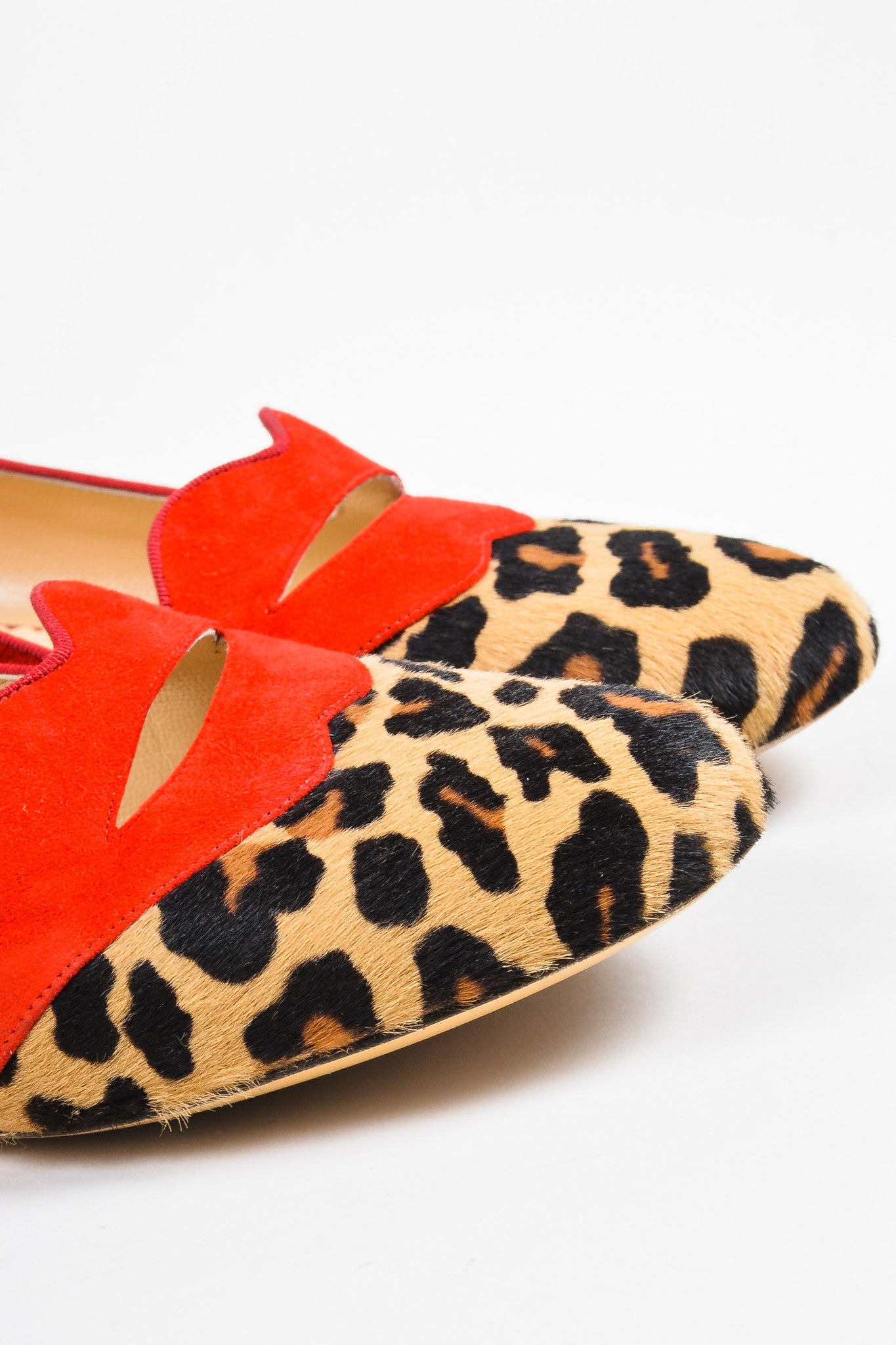 "Charlotte Olympia Red Suede Calf Hair Leopard Print ""Bisoux"" Flats Detail"