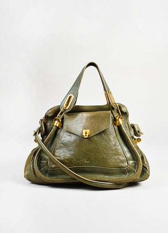 "Chloe Green Leather ""Small Paraty"" Satchel front"