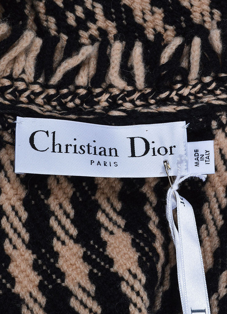 Black and Beige Christian Dior Knit Fringe Tie Long Sleeve Cardigan Sweater Brand
