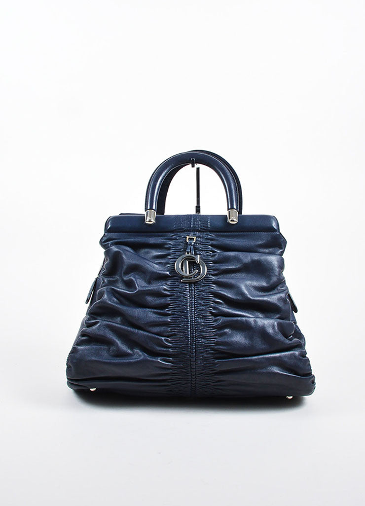 "Christian Dior Navy Leather Ruched ""Karenina"" Handbag Frontview"
