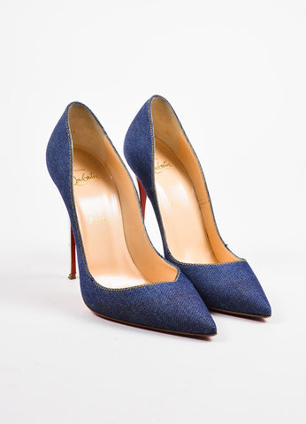 "Christian Louboutin Blue Denim ""So Kate 120"" Pointed Toe Pumps Frontview"