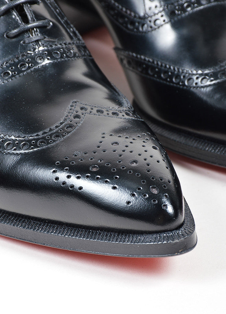 Black Christian Louboutin Leather Heeled Zazou Fiori Apollo Brogues Detail