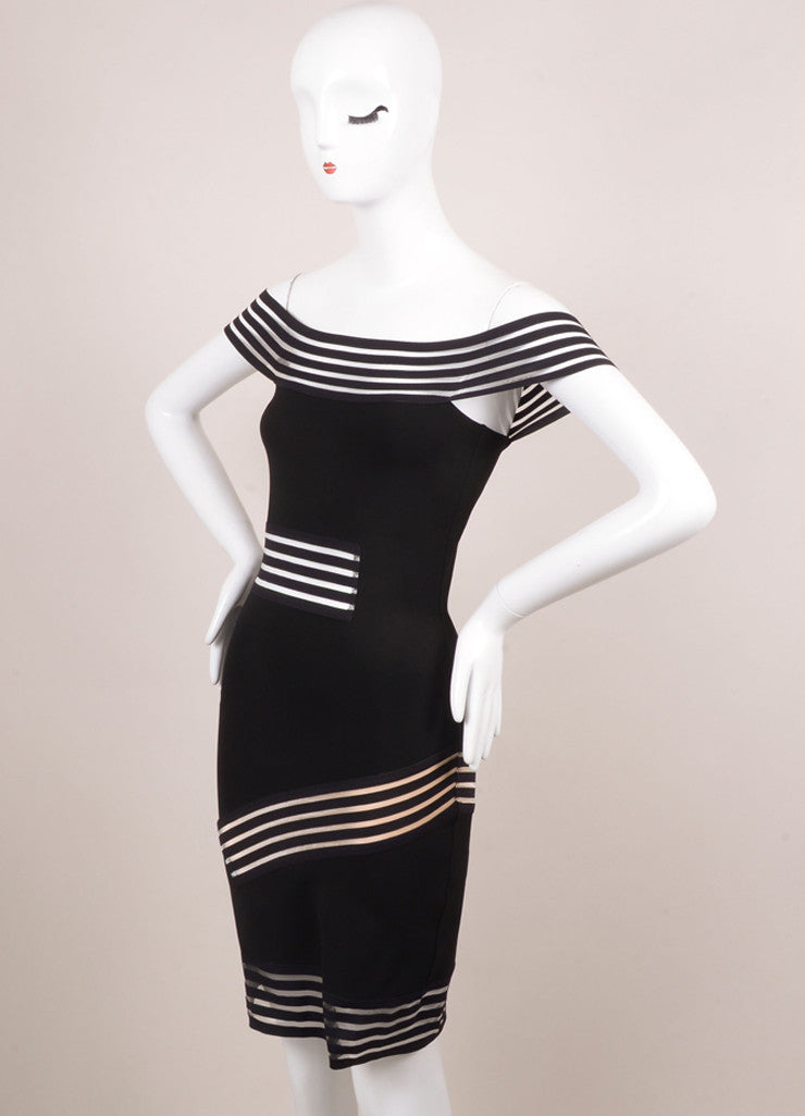 Christopher Kane New With Tags Black Fitted Cut Out Dress Sideview