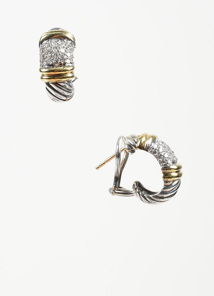"Sterling Silver, 18K Yellow Gold, and Diamond David Yurman ""Metro"" Huggie Hoop Earrings Sideview"