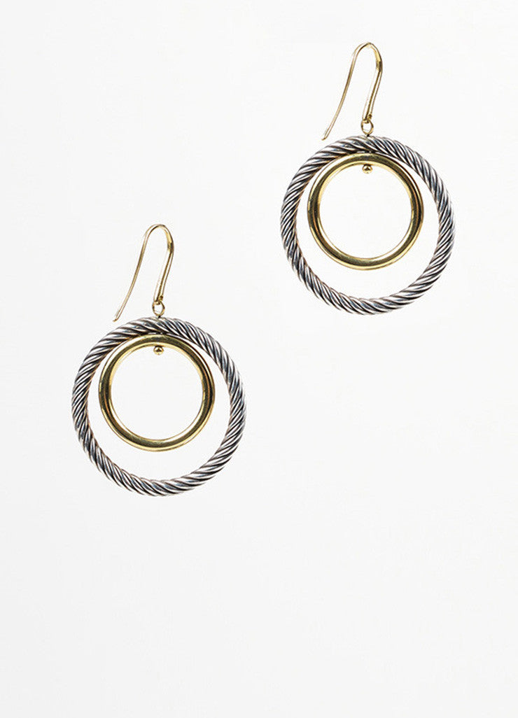 "Sterling Silver and 18K Yellow Gold David Yurman ""Mobile"" Cable Double Hoop Earrings Backview"
