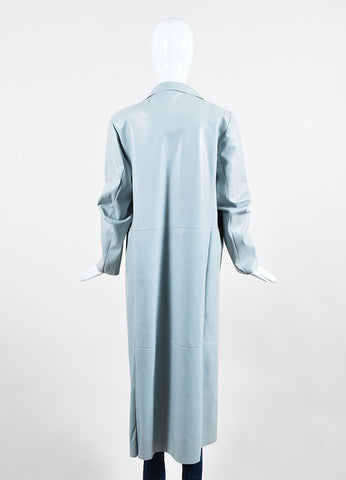 Dusan Powder Blue Leather Long Coat Backview