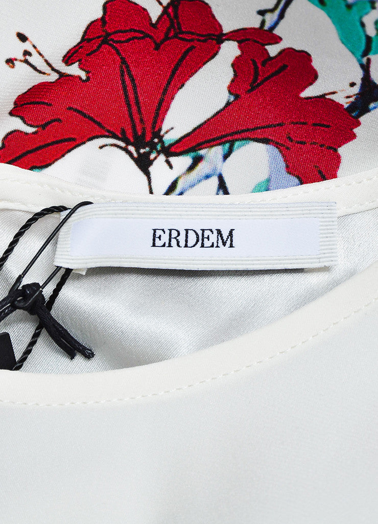 "White and Multicolor Erdem Silk Floral Print ""Armilla"" Short Sleeve Top Brand"