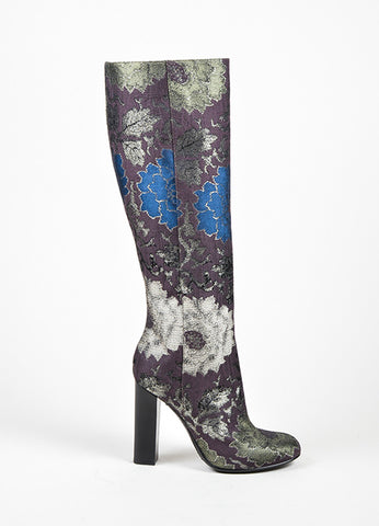 Brown, Green, and Blue Etro Brocade Tall Knee High Boots Sideview