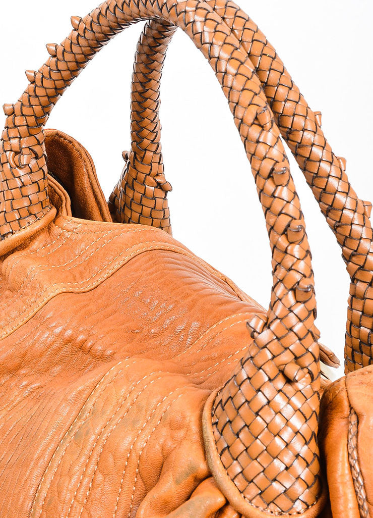 "Tan and Gold Toned Fendi Leather Woven Trim ""Spy"" Bag Detail 2"