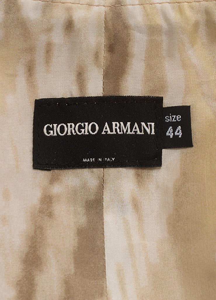 Giorgio Armani Cream and Gray 'X' Lace & Grommet Quarter Sleeve Leather Jacket Tag