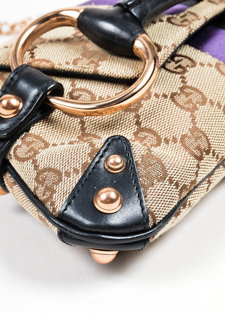 Brown, Black, and Purple Gucci Monogram Canvas Leather Horsebit Chain Strap Clutch Bag Detail
