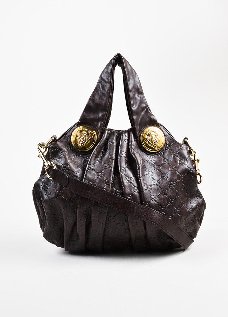 "Gucci Dark Brown Guccissima Leather Monogram Embossed ""Hysteria"" Hobo Bag Frontview"