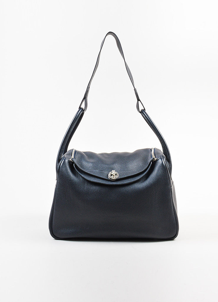 "Black Hermes Clemence Leather Large ""Lindy"" Convertible Bag Frontview"