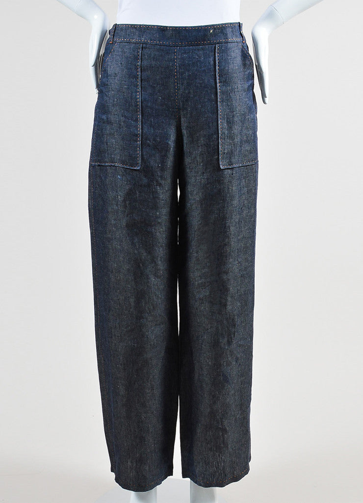 Blue Hermes Linen Stitched Wide Leg Pants Frontview