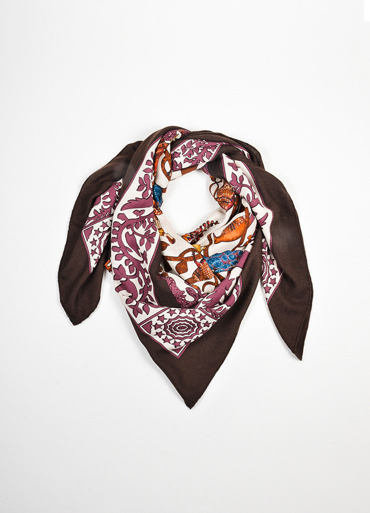 "Multicolor Hermes Cashmere and Silk ""Early America"" Print Square Scarf Frontview"