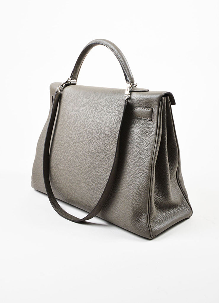 "Hermes 'Etain' Grey Clemence Leather Silver Hardware 40cm ""Kelly"" Handbag Sideview"