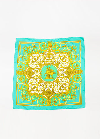 "Hermes Green, White, and Gold Silk Printed ""Les Tuileries"" Scarf Frontview 2"