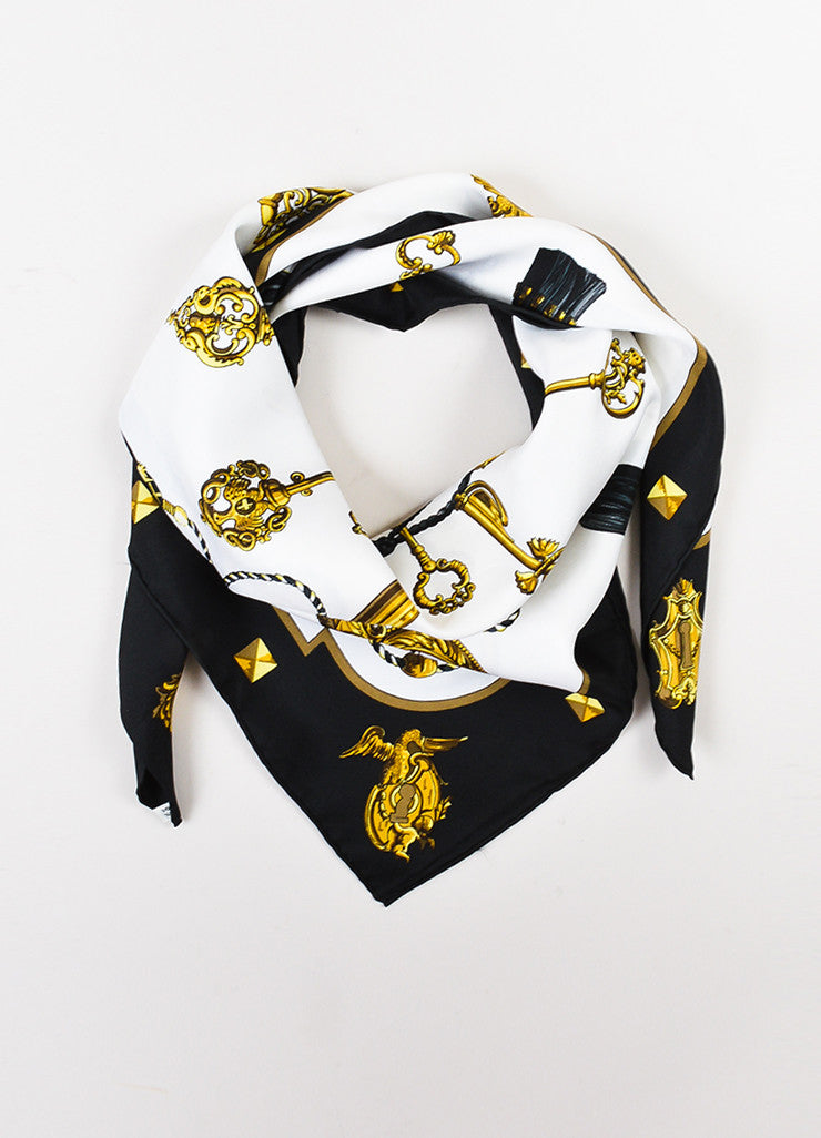 "Hermes White, Gold, and Black Silk Key Tassel Print ""Les Clefs"" 90cm Scarf Frontview"