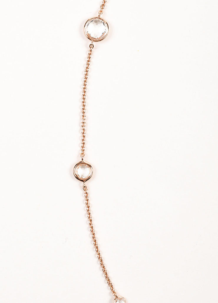 Ippolita Rose Gold Plated Sterling Silver and Clear Quartz Long Chain Necklace Detail