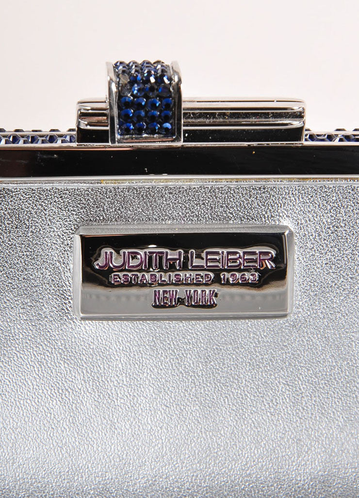 Judith Leiber Navy and Silver Rhinestone Small Rectangular Minaudiere Clutch Bag Brand