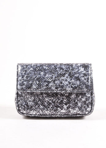 Judith Leiber Black and Silver Metallic Lizard Leather Chain Strap Clutch Bag Frontview