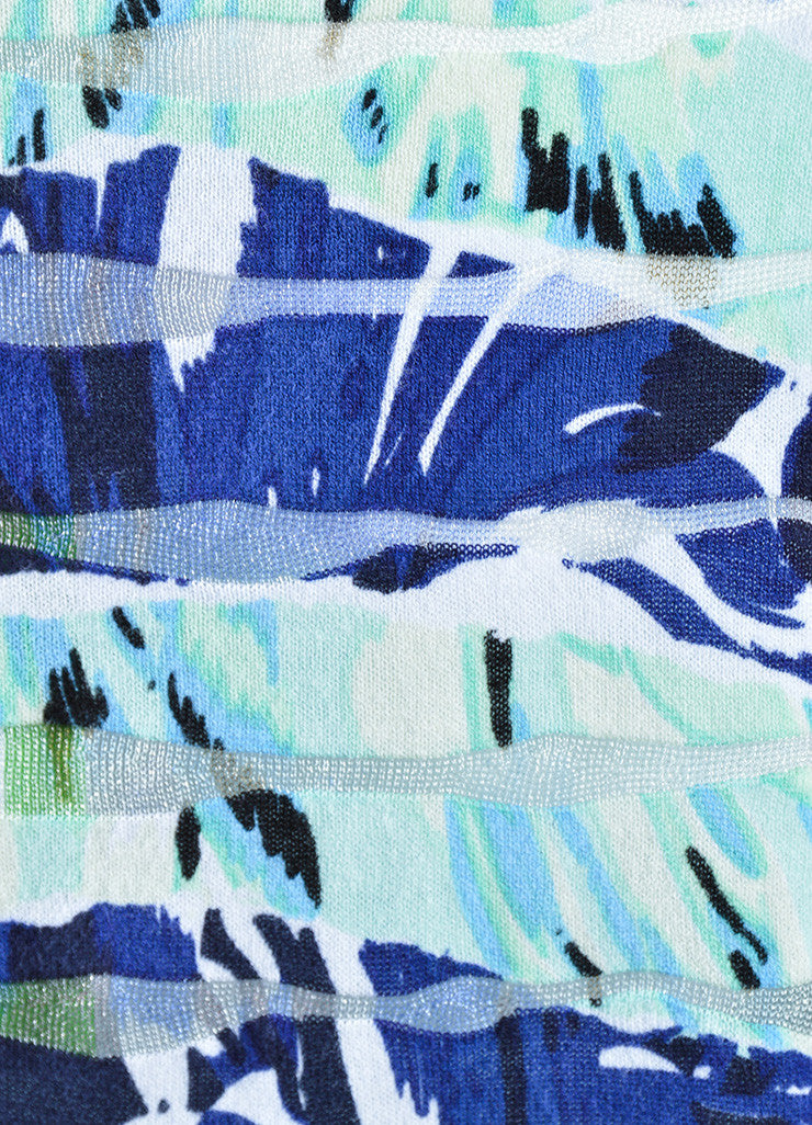 Kenzo Blue and Green Printed Wavy Striped Cropped Sweater Detail