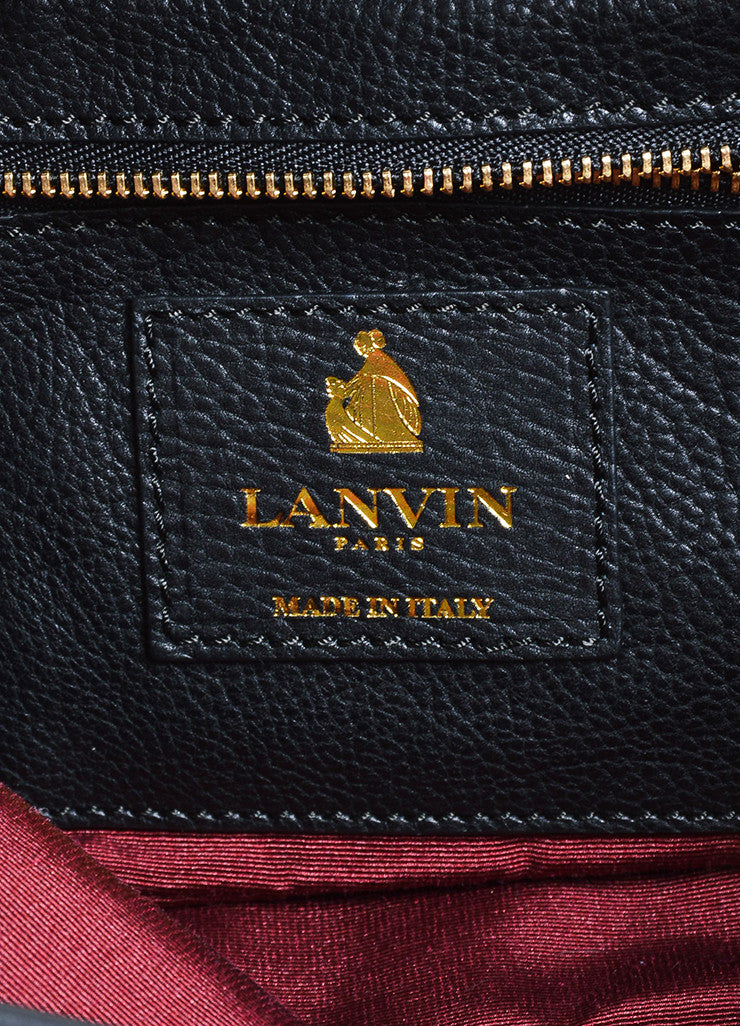 Lanvin Tribal Fringe Black Grained Leather Multistrand Chain Shoulder Bag Brand