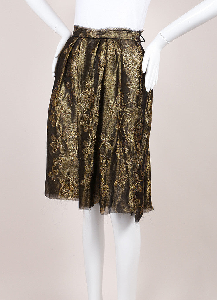 Lanvin Metallic Gold Silk Floral Brocade Pleated A-Line Skirt Sideview
