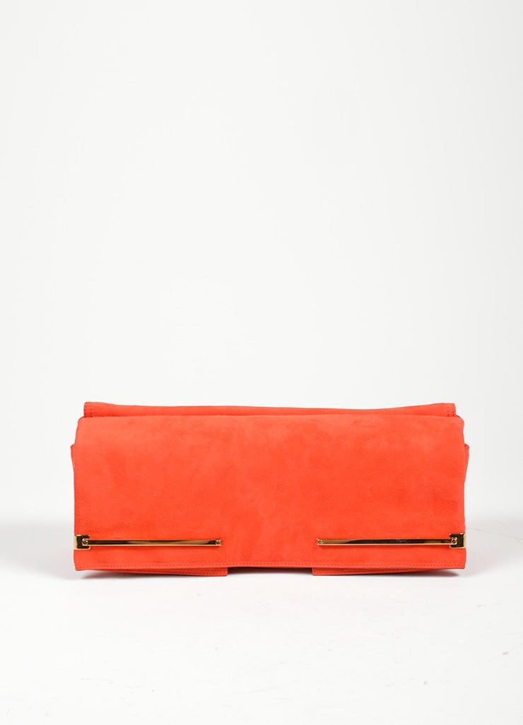 Red and Gold Toned Lanvin Suede Foldover Flap Clutch Bag Frontview