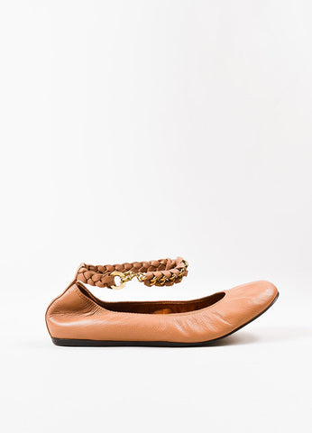 Lanvin Nude Leather Braided Chain Ankle Strap Ballet Flats Sideview