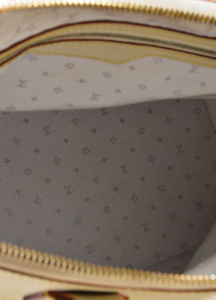 "Cream and Gold Toned Louis Vuitton Suhali Leather Studded ""Lockit PM"" Tote Bag Interior"