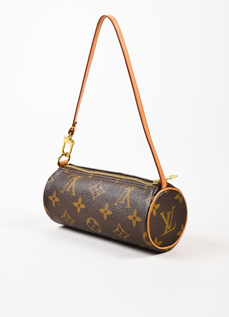 "Louis Vuitton Brown and Tan Coated Canvas and Leather ""Mini Papillon"" Cylinder Bag Sideview"