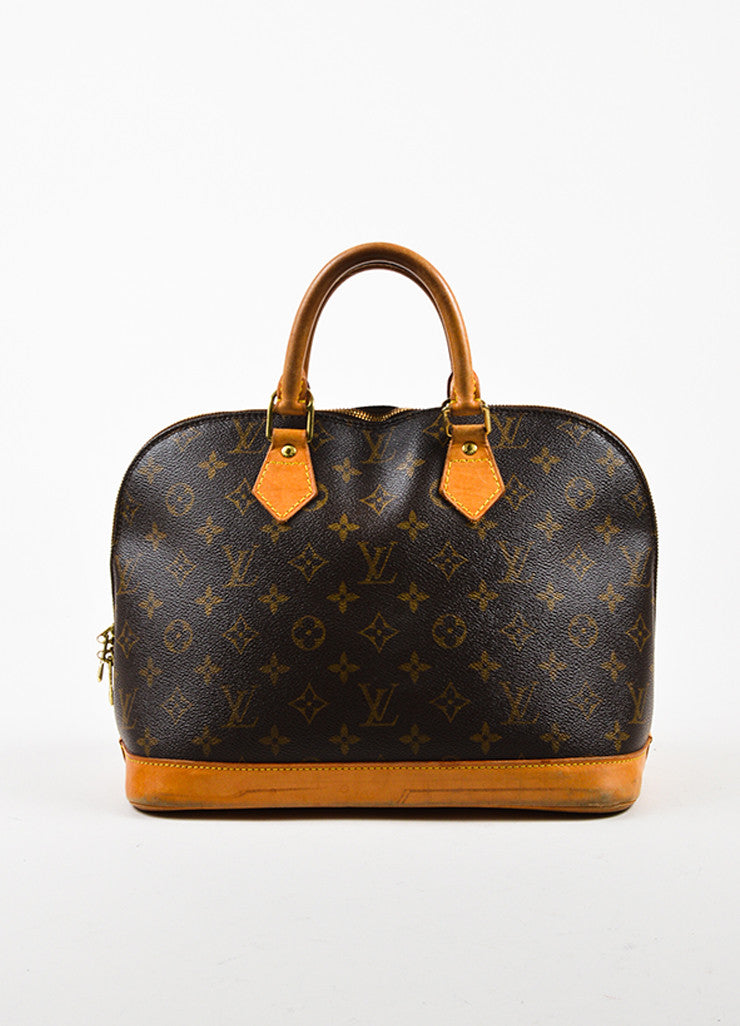 "Louis Vuitton Brown Tan Coated Canvas Leather Monogram ""Alma PM"" Bag Front"