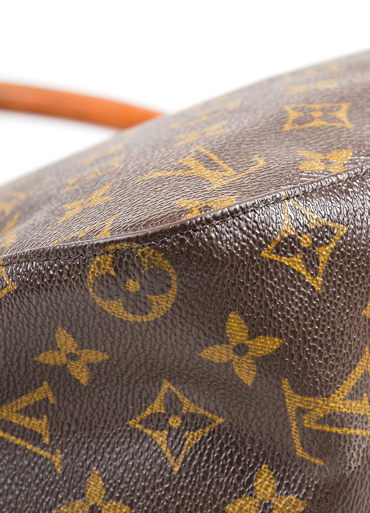 "Louis Vuitton Brown and Tan Coated Canvas Leather Monogram ""Looping MM"" Hobo Bag Detail"