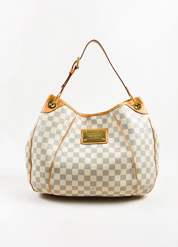 "Louis Vuitton Damier Azur Coated Canvas ""Galliera PM"" Slouchy Shoulder Bag Frontview"