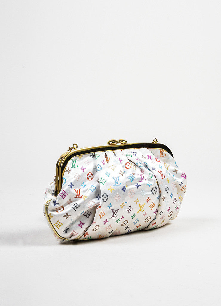 "Multicolor Louis Vuitton Monogram Satin ""Aumoniere"" Clutch Bag Sideview"